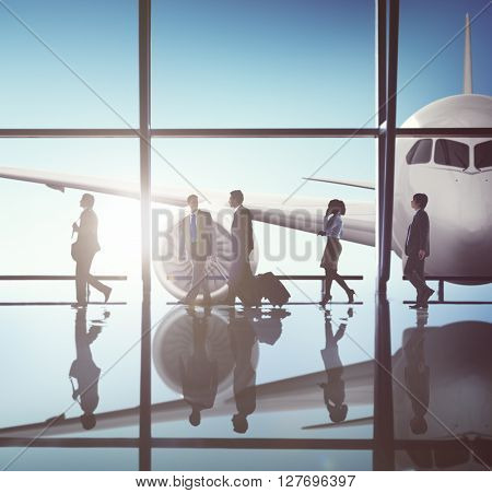 Business People Traveling Airplane AIrport Terminal Concept
