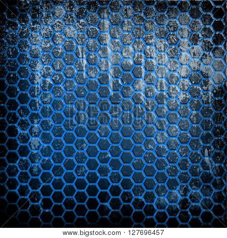 grunge metal background with cellular pattern