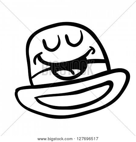 black and white happy bowler hat cartoon illustration