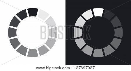 Loading icon vector illustration. Two-tone version on black and white background