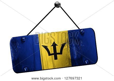 Barbados flag, 3D rendering, grunge old sign on a rope