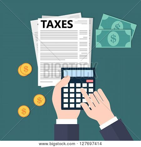 Calculating taxes. Flat style vector illustration design