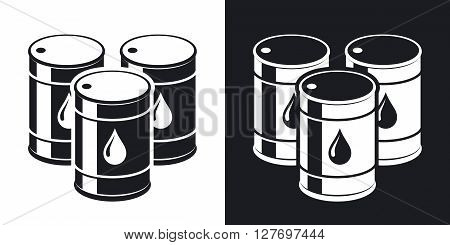 Vector oil barrels icon. Two-tone version on black and white background
