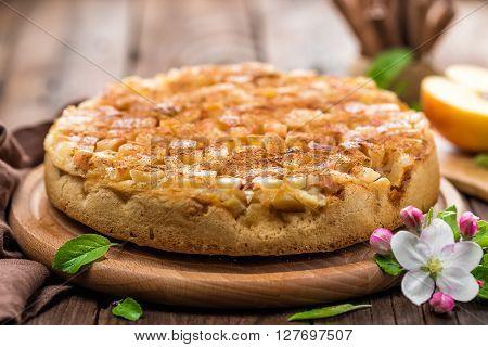 apple pie with cinnamon on wooden board