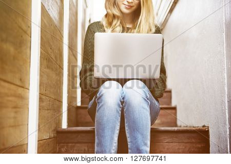 Woman Laptop Browsing Social Networking Technology Concept