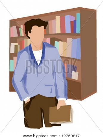 At the Library - Vector
