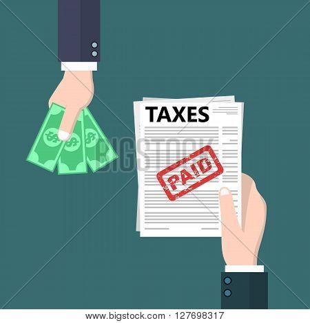 Flat style tax return conceptual illustration design