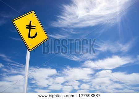 Yellow Road Sign With Turkish Lira Sign Inside On Blue Sky Background