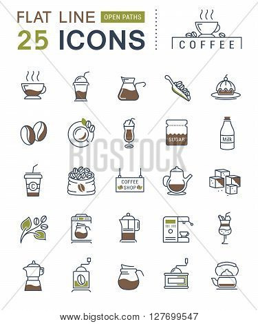 Set vector line icons in flat design coffee and coffee shop with elements for mobile concepts and web apps. Collection modern infographic logo and pictogram.