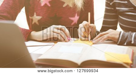 Friends Together Ideas Sharing Homework Talking Concept