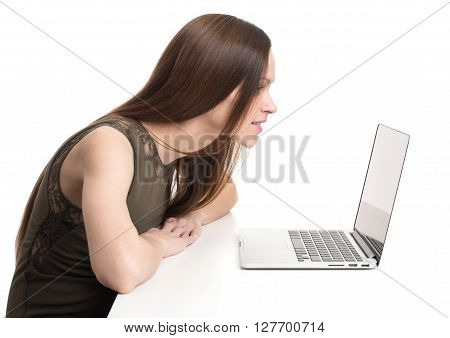 Woman Looking At The Laptop Screen