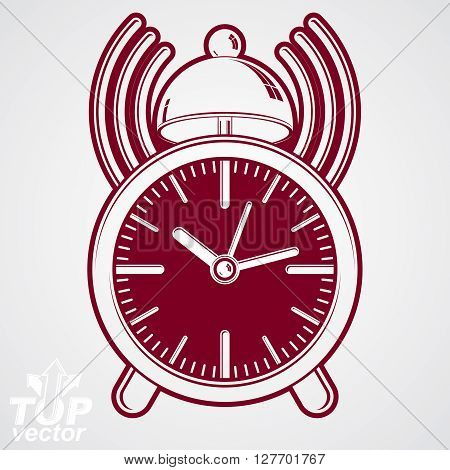 Alarm clock vector 3d illustration with podcast sign classic wake up ticker. Graphic retro dimensional clock with clang bell