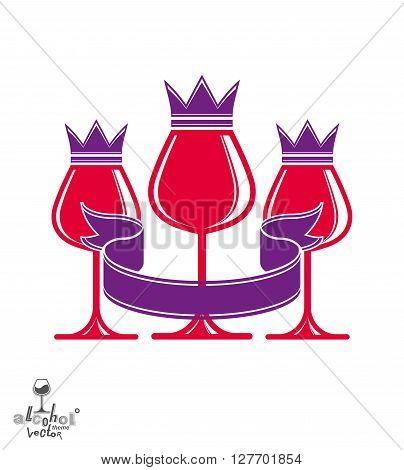Elegant luxury wineglasses with king crown graphic artistic vector goblets collection. T