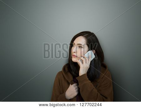 Girl Hoodie Unhappy Phone Call Concept