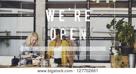 We are Open Welcome Notice Message Shop Sign Concept