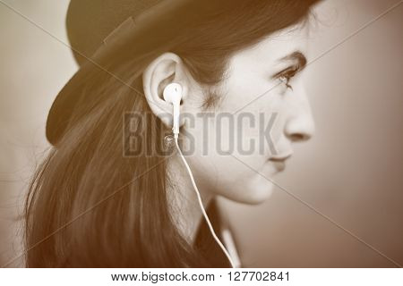Beautiful Woman Listening Music Trendy Concept