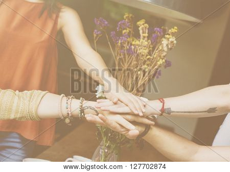 Friends Hands Together Teamwork Unity Concept