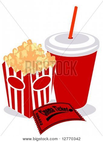 Soda, Popcorn and Movie Ticket - Vector