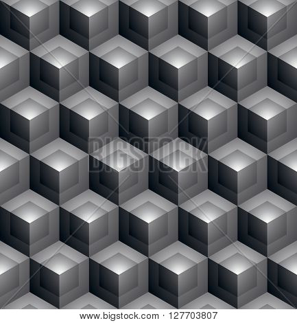 Monochrome Abstract Textured Geometric Seamless Pattern With 3D Geometric Figures. Vector Black And