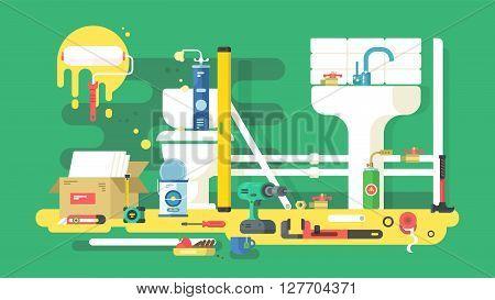Repair of bathroom. Tool for plumbing, fix pipe wrench, vector illustration