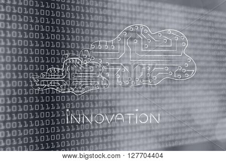 Electronic Circuit Clouds, With Caption Innovation