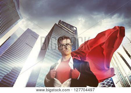 Businessman Superhero Building Leader Concept