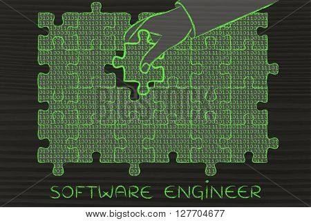 Hand With Missing Puzzle Piece With Binary Code, Software Engineer