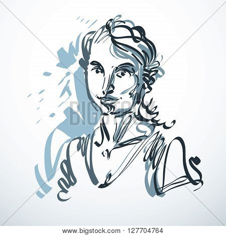 Vector Art Drawing, Portrait Of Romantic Girl Isolated On White, Face Features. Minimal Art Graphic