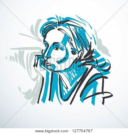 Vector Drawing Of Beautiful Tender Woman, Portrait In Minimal Style. Colorful Illustration, Emotiona