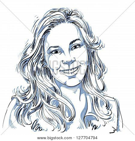 Hand-drawn vector illustration of beautiful smiling woman. Monochrome image expressions on face of sincere young lady.