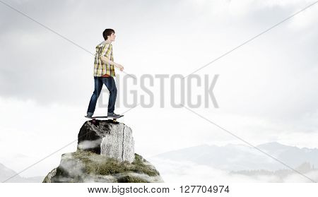 Guy ride skateboard