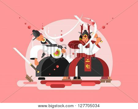 Sushi samurai design. Japanese warrior and seafood roll, vector illustration