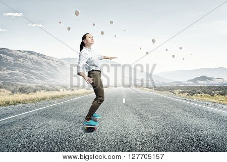 Girl ride skateboard