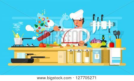 Chef prepares in kitchen. Food cooking and vegetable prepare. Vector illustration