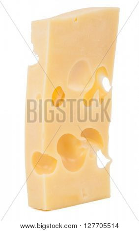 Cheese block isolated on white background