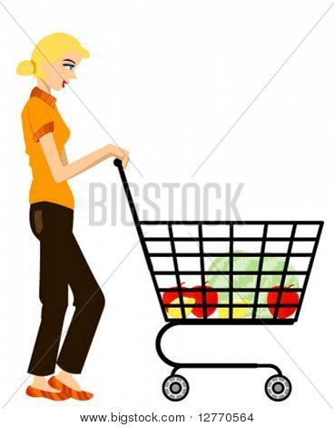 Mom with Shopping Cart - Vector