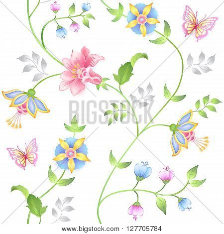 Decor floral elements seamless set isolated on white background (vector illustration)