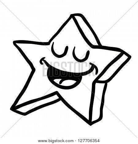 black and white happy star cartoon illustration