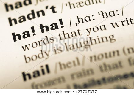 Close Up Of Old English Dictionary Page With Word Ha Ha.