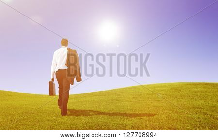 Businessman Rear View Walking the Way Forward Concept