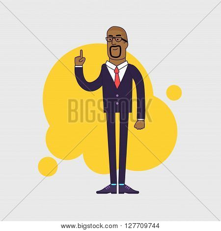 illustration of African American businessman showing his forefinger. Good idea or attention gesture. Linear flat design.