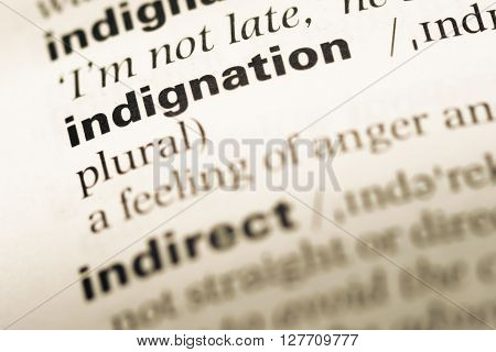 Close Up Of Old English Dictionary Page With Word Indignation.