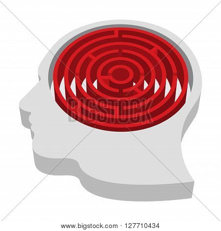 Brain-shaped maze inside a head isolated on a white background vector illustration.