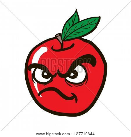 freehand drawn angry apple cartoon illustration