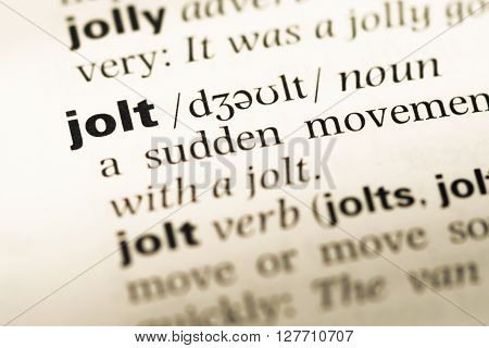 Close Up Of Old English Dictionary Page With Word Jolt.