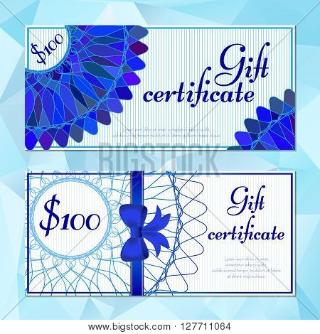 Fashion templates of gift vouchers in two versions with blue mandala pattern. Certificates for presents in cosmetics store or shop beauty salons yoga studios massage cabinet. Vector illustration