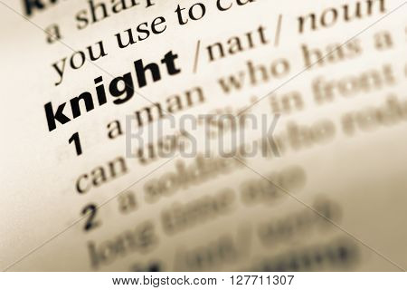 Close Up Of Old English Dictionary Page With Word Knight.