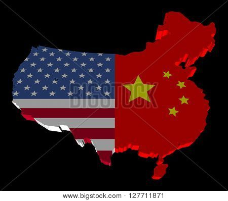 USA China merged map flag 3d illustration