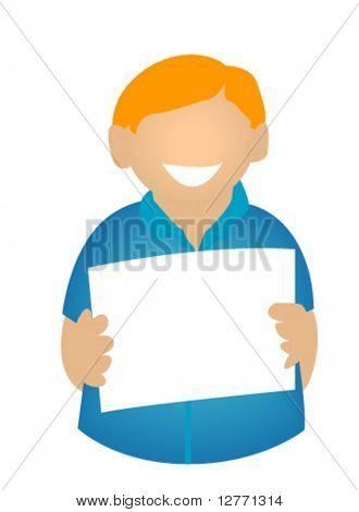 Young Boy flashing blank cardboard - Vector