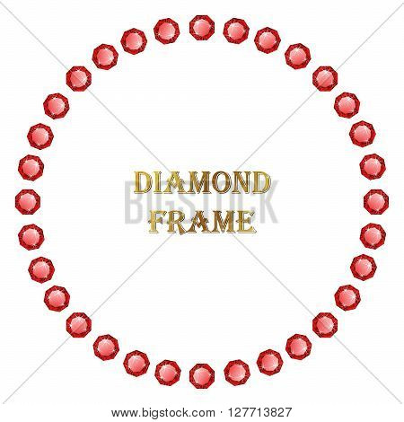 Ruby round frame. Vector jewerly border and place for your text.